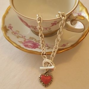 Jewelry - Silver Toggle Bracelet With Heart Pendant